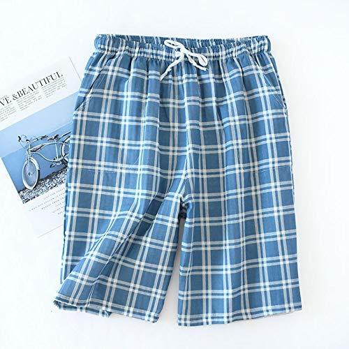 Ycxydr Pijama Pantalones Cortos de Verano de los Hombres de sección Delgada de algodón Tejido Bouguer Sub Cortocircuitos Flojos, Pantalones Casuales casa Albornoz (Color : Blue, Size : XL): Amazon.es: Hogar