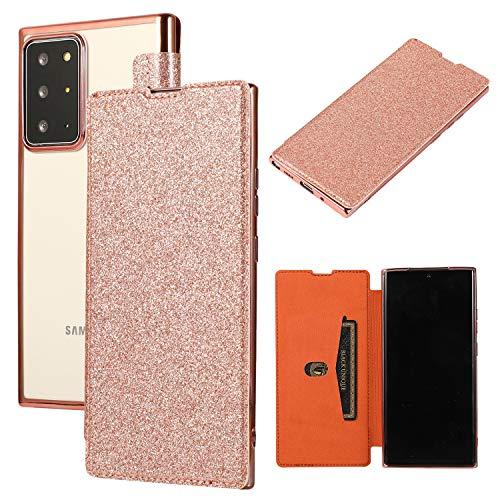 Yobby - Funda para Samsung Galaxy Note 20 Ultra Gitzer, funda para Samsung Note 20 Ultra, funda de piel con tapa con tarjetero transparente, suave TPU, color oro rosa
