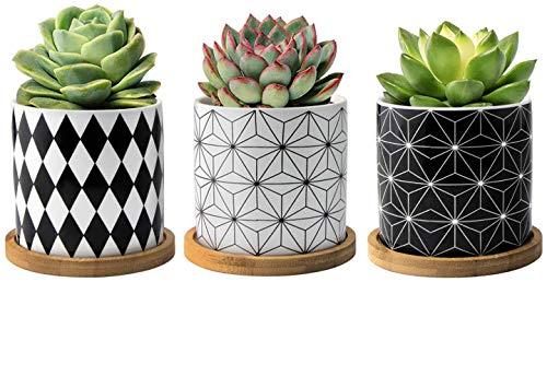 FairyLavie Macetas Pequeñas para Plantas de Cerámica de 9CM, Plantador para Suculentas con Patrón de Geometría, Tiesto de Flores con Bandeja de Bambú, Conjunto de 3PCS