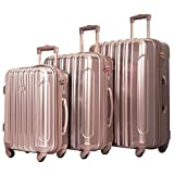 kensie 3 Piece 'Alma' Light Metallic Style TSA-Lock Spinner Luggage Set, Rose Gold Option