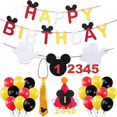 Mouse Happy Birthday Banner Decorations Kit, Mouse Banner Tie Hat for Baby Birthday Party Mouse Theme Party Supplies