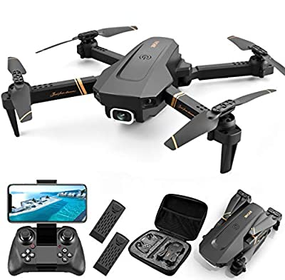4DRC V4 Foldable Drone with 1080p HD Camera for Adults and Kids, Quadcopter with Wide Angle FPV Live Video, Trajectory Flight, App Control,Optical Flow, Altitude Hold and 2 Modular Batteries by shantoushixiaowangguoshangmaoyouxiangongsi