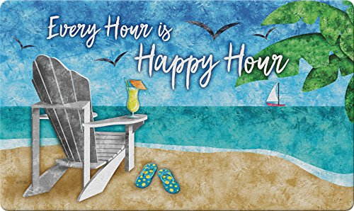 Toland Home Garden Happy Hour Beach 18 x 30 Inch Decorative Tropical Floor Mat Cocktail Doormat - 800401