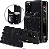Samsung Galaxy S20 Case Wallet with Card Holder,Vodico S20 5G Slim Protective Embossed Butterfly Leather Flip Folio Wallet Back Magnetic Closure Stand Full Body Phone Cover for Women/Girls (Black)