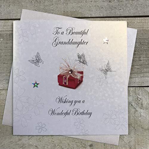 Witte katoenen kaarten naar een mooie kleindochter gelukkig, handgemaakte verjaardagskaart (Code, bd37)