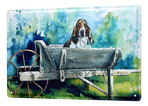 LEotiE SINCE 2004 Blechschild Wandschild 30x40 cm Vintage Retro Metallschild Hunde Rasse Beagle Schubkarre