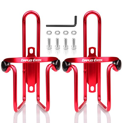 DIMPLES EXCEL Bike Bicycle Water Bottle Cage (2 Pack) (2 Pack (Red + Red))