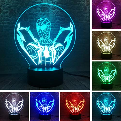 Fanrui Cool Boy Gifts 3D LED Marvel Ultimate Spider Man Lamp Avengers Endgame Legends Smart 7 Auto Color Gradient Night Light Fans Man Friends Kids Toys Xmas Party Home Decor Best Surprised Presents