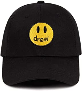 Drew House Justin Bieber Dad Hat 100% Cotton Smiley Face Drew Baseball Black