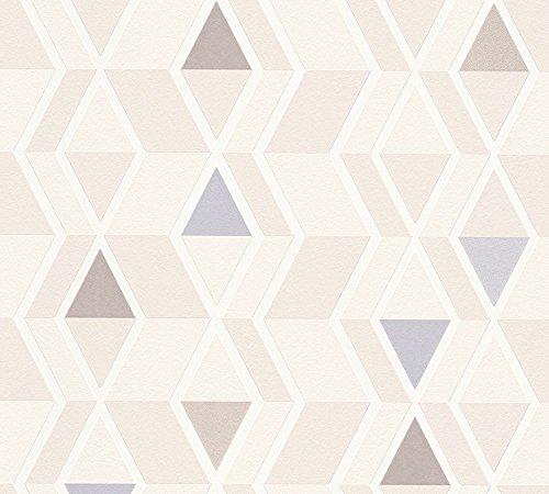 A.S. Création Vliestapete Happy Spring Tapete geometrisch grafisch im skandinavischen Stil 10,05 m x 0,53 m beige blau braun Made in Germany 343025 34302-5