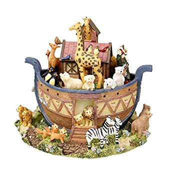 Noah s Ark Rotating Music Box Animal World Resin Home Decoration with Canon s Melody Creative Gift Toys