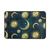 Ollabaky Moon Sun Stars Doormat Non-Slip Washable Entrance Bathroom Door Floor Mats Indoor Outdoor Decor Rug 23.6' x15.7'