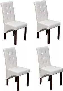 4 sillas de comedor de piel artificial con patas de madera maciza, silla cómoda para comedor, dormitorio, oficina, color blanco