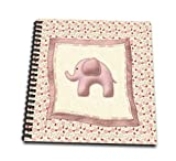 """3dRose Baby Elephant Blanket with Butterflies and Flowers, Pink-Memory Book, 12 by 12"""""""