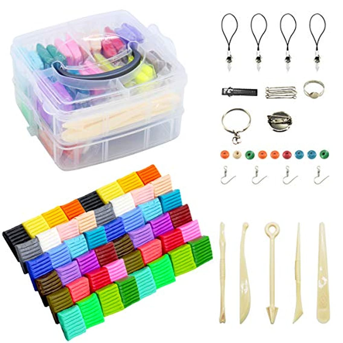 Rewiss 24 DIY Mixed Colored Polymer Clay Soft Oven Baking Modelling Clay,Moulding Colorful Fimo Effect Clay Blocks with Tools and Mult-Mold Accessories,2.2 Lbs