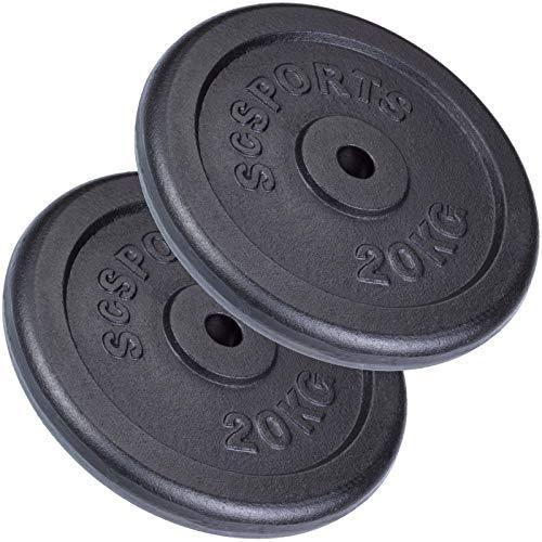 ScSPORTS 40 kg Hantelscheiben-Set 2 x 20 kg Gusseisen Gewichte 30/31 mm Bohrung, durch Intertek geprüft + bestanden¹