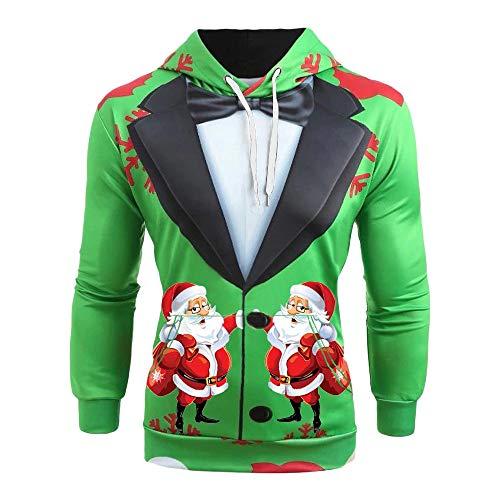 SHE.White Herren Weihnachten Kapuzenpullover 3D Santa Claus Druck Hoodie Pullover Herbst Winter Warm Slim Fit Sweatshirt Männer Kapuzenjacke Tops S-5XL