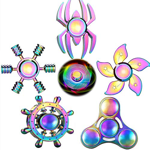 Rainwbow Snitch Fidget Fingers Hand Spinners Metal Focus Decompression Fidgets Toy Stainless Steel Fingertip Gyro Stress Relief Cube Fun Spiral Twister ADHD EDC Anti Anxiety Gifts for Kids and Adults