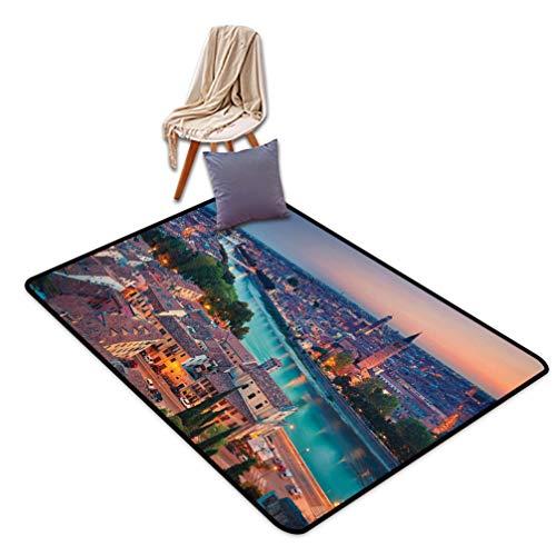 European Doormats Sofa Mat, Verona Italy During Summer Sunset Blue Hour Adige River Medieval Historcal Quick Dry Floor Mat with Non-Slip Back, 31
