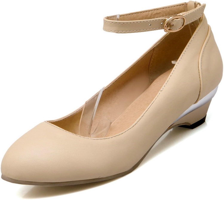 BalaMasa Womens Buckle Wedges Round-Toe Urethane Pumps-shoes
