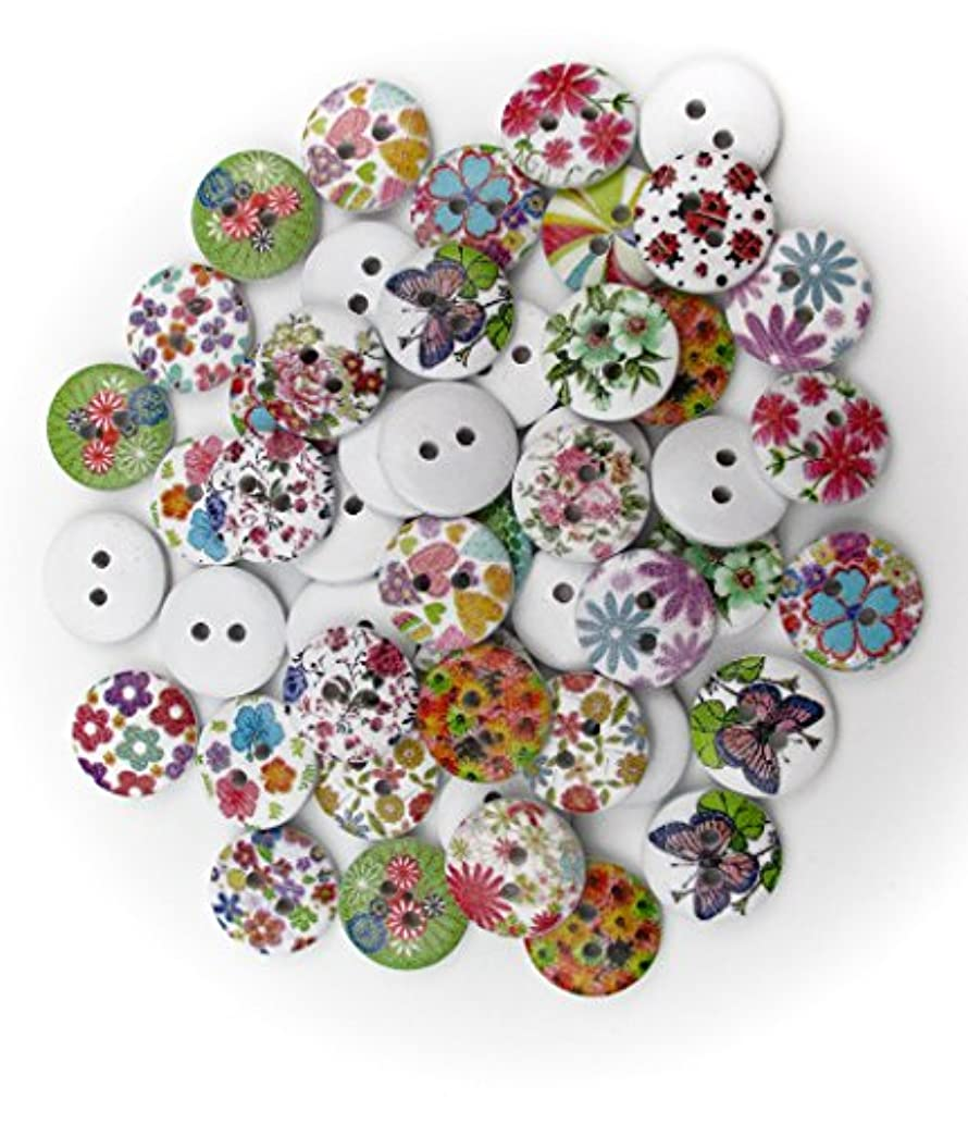 "All In One 50pcs Flower Printed 2 Hole Sew on Wood Buttons 15mm (3/5"")"