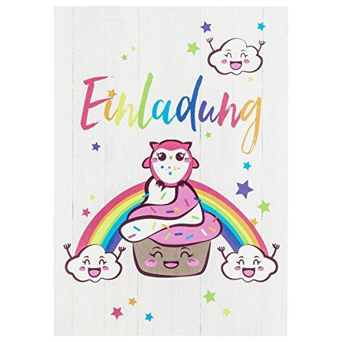 BEYMAX 10 süße Vintage Cupcake-Einladungskarten mit Eule für den Kindergeburtstag – mit Regenbogen, Wolken und Sternen in Rosa – Geburtstagskarten für Mädchen und Jungen – ideal für Jede Party