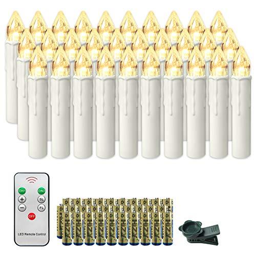 Froadp LED Kerzen mit Fernbedienung und Batterien Warmweiß LED Weihnachtskerzen Weinachten für Weihnachtsbaum, Weihnachtsdeko, Hochzeitsdeko (30er mit Batterien)