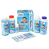 Clearwater CH0017 Pool Chemical Starter Kit for Above Ground Pool and Paddling Pool Water Treatment (Includes Chlorine, pH Minus, pH Plus, Algaecide and Test Strips)