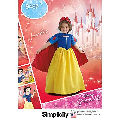 Childs et filles Blanc neige Costume   Taille 3–6  Patron Simplicity 8487