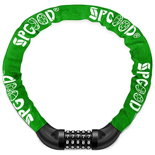 SPGOOD Lucchetto Bici Catena Bicicletta (14 Colori) Antifurto a Combinazione a 5 Cifre, per Bicicletta, Moto, Porta, cancello, Recinzione,100CM-4CM (Verde)