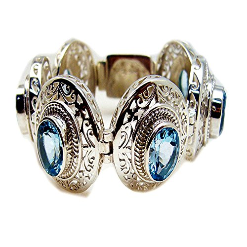 Jewelryonclick Echte Oval Blautopas 925 Sterling Silber Armreif Armbänder Für Frauen Edelstein Schmuck