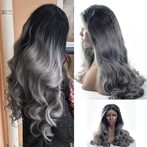V'NICE fashion ombre silver grey bodywave synthetic lace front wig natural black gray heat resistant hair wigs for women 20-24inch (24 inches)
