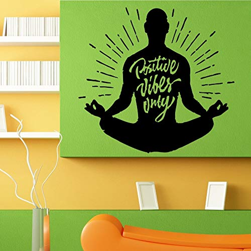 Citaat Poster positieve resonantie alleen Lotus Yoga vormen muur Stickers meditatie Vinyl muurschildering Decal familie Art Deco behang 85x90cm
