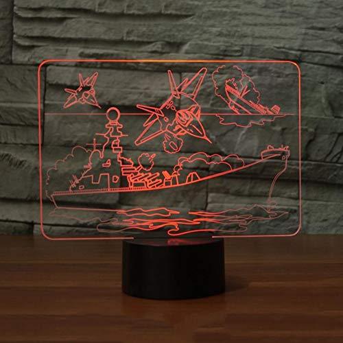 LLZGPZXYD Led-tafellamp, 7 kleuren, kleurverandering, vliegtuig, boot, led, 3D, visual, dekzeil, boot, nachtlicht, USB, nachtverlichting, slaapkamerdecoratie, cadeau Touch And Remote