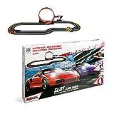 Mondo Mondo-66091 Motors-Pista elettrica macchinine Porsche, Colore Rosso/Viola/Nero, 66091