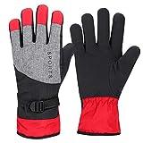 KJLH Invierno al aire libre a prueba de viento guantes de mano completa engrosados guantes calientes pesca esquí ciclismo rojo guantes