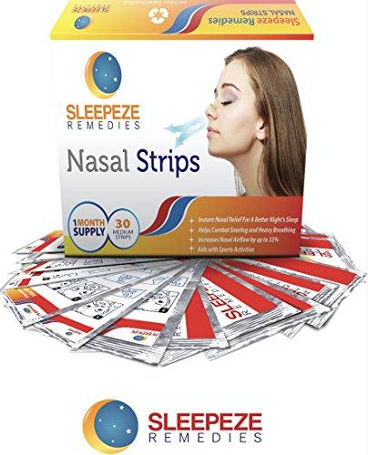 Tiras nasales x 30 M anti ronquidos | Aspirador nasal Sleepeze Remedies® Ronquidos Soluciones, breathe mejor | calidad Premium que evitan la apnea del sueño y la congestión nasal
