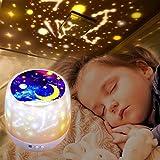 Lampada Proiettore Stelle,Luci Luna notturne per bambini, 360° Rotazione, 6 Modalità Romantica Luce Notturna per Bambini, Camera da letto, Compleanno, Luce Della Scuola Materna (White)
