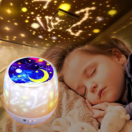 Sternenhimmel Projektor Lampe Kinder, 360 Rotierendes, 6 Lichteffekt, Dimmbar Sternenprojektor Nachtlicht mit 3 LEDs für Kinder, Schlafzimmer, Geburtstag, Kinderzimmer-Licht (White)