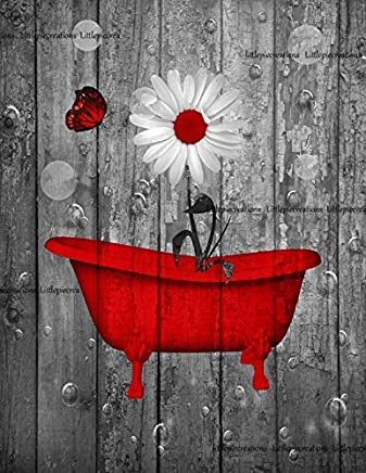 "Red Gray Bathroom Wall Art, Daisy Flower, Butterfly, Bubbles, Rustic Bath Wall Art Pictures, littlepiecreations Original Photo Artwork USA HandMade 8""x10"" Print with 11""x14"" White Mat"