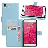 HualuBro Oppo R7 Hülle, [All Aro& Schutz] Premium PU Leder Leather Wallet HandyHülle Tasche Schutzhülle Flip Hülle Cover mit Karten Slot für Oppo R7 Smartphone (Blau)