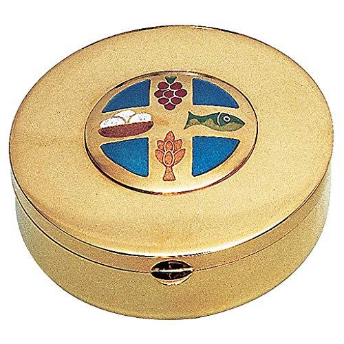 Holyart Caja hostia en Latón Dorado Pan y UVA Espiga pez Molina Diam.9 cm
