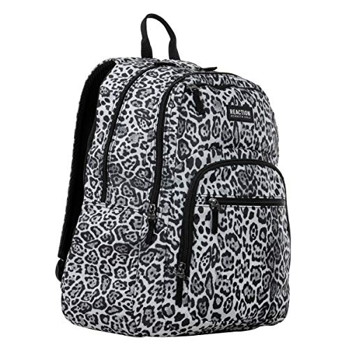 """Kenneth Cole Reaction Printed Dual Compartment 16"""" Laptop & Tablet Backpack for School, Travel, Work, White Leopard, Laptop"""