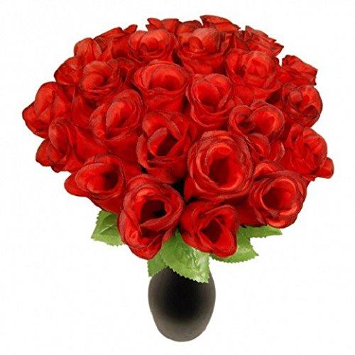 Schramm® 72 Stück Hecken 26cm Rosen rot Kunstblumen Seidenblumen Rote Rose