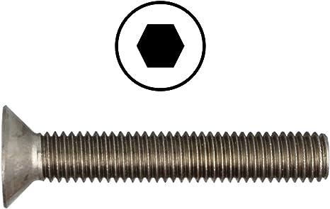 20 St/ück Edelstahl A2 - V2A Senkschrauben mit Vollgewinde Senkkopfschrauben M4 X 12 DIN 7991 mit Innensechskant ISK