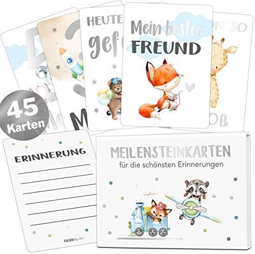 45 Baby Meilensteinkarten mit edlem Silber Effekt für Jungs Meilenstein Karten Set + magnetische Geschenkbox schöne Geschenkidee Milestones zur Geburt, Taufe oder Babyshower (Junge)