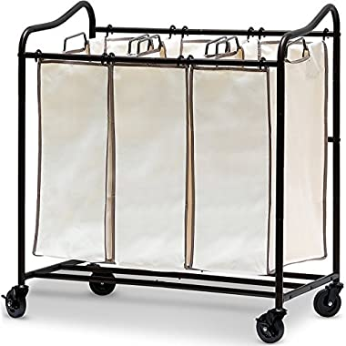 SimpleHouseware Heavy-Duty 3-Bag Laundry Sorter Rolling Cart, Bronze