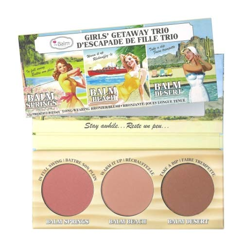 theBalm Highlighting Powder Cheek Palette, Face Sculpting Kit, Fade Resistant Blushes/Bronzers, Balm (Springs, Beach and Desert), 0.16 ounces