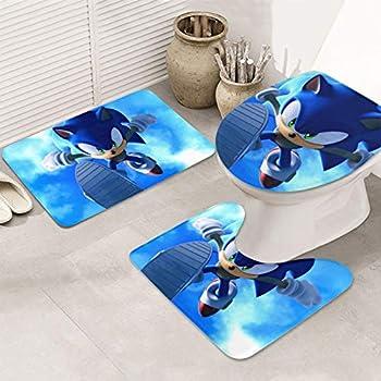 Sonic The Hedgehog Bath Mat Rug 3 Piece Set,Large,Small and Contour Bathroom Rug Set,Ultra Soft Non-Slip Memory Foam Bathroom Bath Rugs