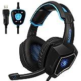 Spirit Wolf USB PC ゲーム用ヘッドホンマイク ゲーミングヘッドセット低音の振動音量調節機能付き (ホワイト) (black blue)